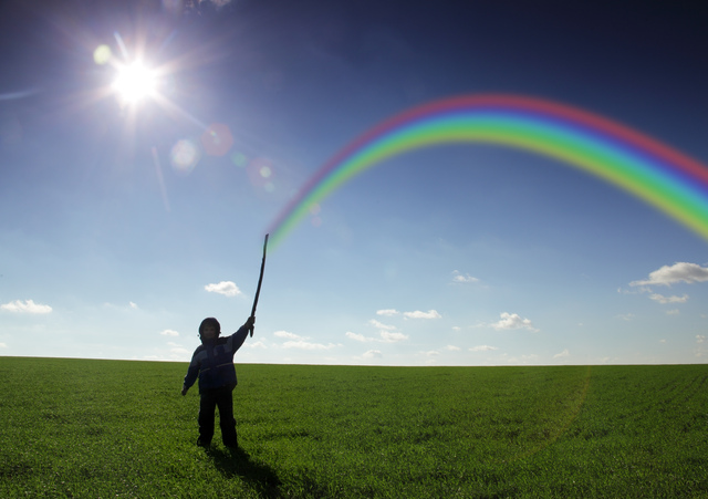 rainbow in chidren hand